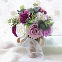 Yapay Düğün Gelin Buketler El Çiçek Rhinestone Gül Düğün Malzemeleri Gelin Holding Broş Nişan Canlı Şakayık