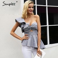 Simplee Ruffle one shoulder plaid sexy blouse shirt Women ir...