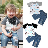 Baby Boys Brother Oufits Dinosaur T- shirt+ Jeans 2PCS set Su...