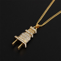Fashion Jewelry Crystal Charm Gold And Silver Hip Hop Plug Punk necklace Pendant Necklace For Men And Women Birthday Gift
