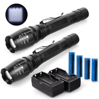 2x Süper Parlak 3800LM El Feneri Zumlanabilir Yükseltilmiş T6 LED Şarj Edilebilir Torch Taktik 4x 18650 Batarya + 2 adet Şarj