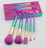 Marque T @ rte fée série 5 pcs en édition limitée maquillage sirène pinceau star poignée queue de poisson brosse avec boîte pack DHL livraison gratuite