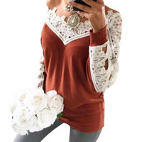 Women Lace Patchwork T- Shirt Sexy Deep V Neck Long Sleeve Lo...