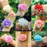 Nowe Sztuczne Kwiaty Dekoracje Ślubne Bridal Hand Flower Druhny Siostry Siostry Nadgarstek Corsage Foam Rose Symulacja Fałszywe kwiaty WX9-399
