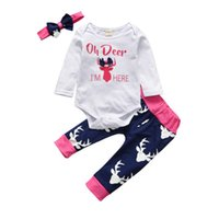 Christmas Newborn Baby Girls Clothes Set Infant Toddler Deer...