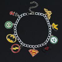 hot Justice League Flash-Green Lantern Superman Batman Wonder Woman Star trek Superheld Cryatal Perlen Pendent Legierungs-Armband 8pcs