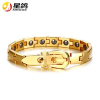 trendy 316L stainless steel bio magnetic health bracelet for...