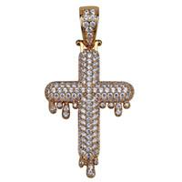 يثلج خارجا قطرة قلادة الصليب قلادة مايكرو تمهيد الزركون النحاس ذهبية فضية اللون مطلي الهيب هوب مجوهرات رجالي