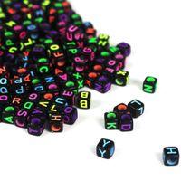 100шт разных 6мм DIY куб черная акриловые бусины Письмо с алфавитом Craft / Детьми Jewelry Making для браслета