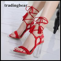 Fashion red black knot lace up ankle wrap transparent PVC th...