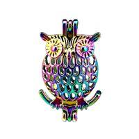 10 pz / lotto Arcobaleno Colore Gufo Perla Gabbia Perle Cage Locket Pendant Diffusore Aromaterapia Profumo Oli Essenziali Diffusore Floating Pom