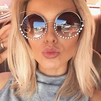 OUTEYE Rhinestone Cat Eye Sunglasses Women Round Mirror Sun ...