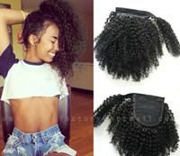 Extensiones de cola de caballo de cabello humano real Afro Puff Clip rizado en envoltura alrededor de cabello Cola de caballo marrón oscuro envío gratis a uk