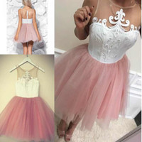 Blush Pink Short Homecoming vestidos de cuello joya sin mangas de encaje Top Illusion Back Cocktail Party vestidos de una línea de tul corto vestidos de baile