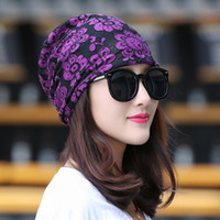 Womens slouchy Beanie Lace Turban Soft Sleep Cap Chemo cappello baggy Skullies cappello Stampa archetto Flower Head band 6 colori Hat