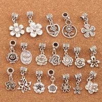 190pcs/lot Flowers Dangle Alloy Big Hole Loose Beads Tibetan Silver Fit European Charm Bracelet Jewelry BM55 LZsilver