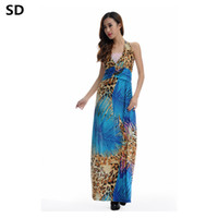 1082451d5d SD 2018 Summer Floral Print Boho Beach Dress Hot Sale Ladies Ankle-length  Vestidos Women plus size Sleeveless Maxi Dresses W72