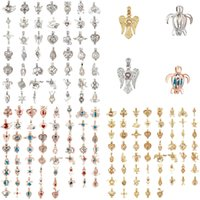 Modeschmuck Silber Rose Gold Perle Käfig Schmuck Medaillon Anhänger Erkenntnisse Käfig ätherisches Öl Diffusor Medaillon für Oyster Pearl