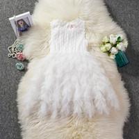 Mignon Ball Gow Dentelle Fleur Filles 'Robes Arc Sash Robe De Fête D'anniversaire En Dentelle Tulle Robes Tutu À Volants Tulle Enfants Princesse