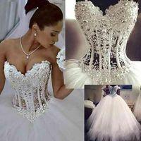 Белые свадебные платья Милая корсет Свирить Длина пола Принцесса Свадебные платья Бисером Кружева Жемчуга на заказ DH345
