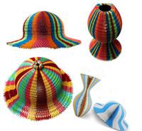 100 PCS Magic Vase Chapeaux En Papier À La Main Chapeau Pliant pour Décorations De Fête Drôles Papiers En Papier Voyage Sun Chapeaux Coloré