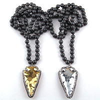 Fashion Faceted Hematite Stone Long Knoed Neck Handmake Pave...