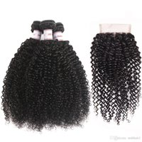 Peruvian Kinky Curly Virgin Hair 3 Bundles With 4x4 Lace Clo...