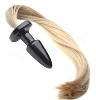 Queue de cheval blonde Fouet plug poney cosplay animal PET Jeu Toy Insérer Jeu de rôle # R46