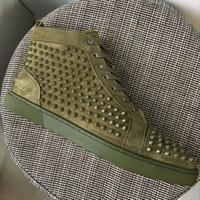 New Fashion Mens Womens Khaki Suede Leather With Spikes High...