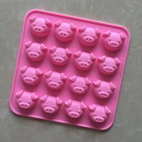 Moule de silicone 16 trous mignonne tête de cochon en forme de moules de chocolat bricolage piggy gâteau moule à la main savon moules ZA6674