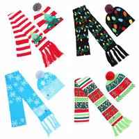 4 스타일 크리스마스 LED 니트 모자 스카프 세트 LED 조명 Pom 비니 스카프 세트 크리스마스 눈송이 크로 셰 뜨개질 모자 크리스마스 선물 CCA10670 12set