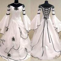 Ренессанс старинные черно-белые средневековые свадебные платья для арабских женщин кельтские свадебные платья с Fit и Flare рукава цветы дешевые