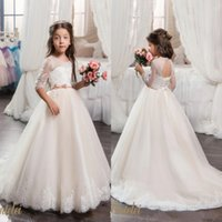 Flower Girls Dresses with Hoop Inside Flower Embroidered Par...