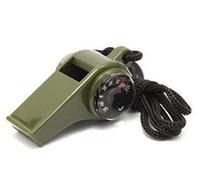 Vente chaude 3in1 / 7in1 Sifflet Thermomètre Compas Pour Vitesse Extérieure Camping Survie Sifflet avec Led Lumière