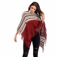 Осень новая мода женская кисточкой вязаное пальто блузка нерегулярные полосатый Bat рукавом мода мыс шаль свитер пальто