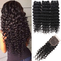 Deep Wave Hair Top Human Hair Bundles With Closure Free Part...
