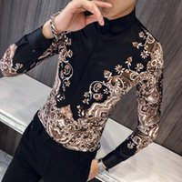 Loldeal Luxury Royal Shirt Maglie a manica lunga Casual Slim Fit Tuxedo Shirts Gold Printed Mens manica lunga Casual Slim
