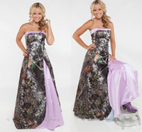 2018 New Strapless Camo Prom Dresses Satin Custom Made Plus Size Light Purple Pink Backless Evening Party Dresses Spring Country Vestidos