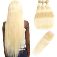 HCDIVA Extensions Cheveux raides 613 Blonde humaine Bundles cheveux avec fermeture 3 Bundles Avec 4X4 Dentelle Fermeture pour salon de coiffure 10-30 pouces de long
