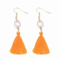 Bohemian Multi Color Shiny Imitation Pearl Long Tassel Earri...