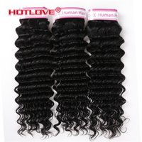 Brazilian Virgin Human Hair Extensions Deep Wave 3 Bundles  ...
