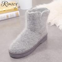 0bf745f099b0 Atacado moda mohair fur shoes mulher inverno quente de pelúcia dentro botas  mujer dedo do pé