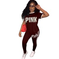 Two piece set tracksuit women PINK letter short sleeve tops ...