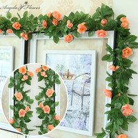 2.3m Soie Rose Fleur Rose rotin Garland artificielle Décoration de vigne pour Windows Chaises murs Accueil Décoration 5pcs / Lot