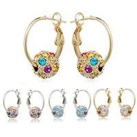 Boucles d'oreilles en cristal autrichien plaqué or argenté 18 carats pour femmes de mariée bijoux de mariage sur les boucles d'oreilles Dangle Boucles d'oreilles Diamond Drop Boucles d'oreilles