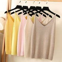 V Necked Knitted Women Tank Tops Shining Glitter Women Crop ...