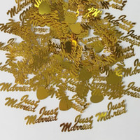 150g Gold Just Married Love Heart Confetti Banquete de boda Foil Table Scatters Compromiso Casado Aniversario Sprinkle Decorations