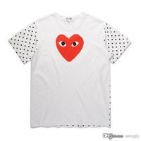 2018 COM İyi Kalite Yeni 1 Unisex CDG Casual Pamuk Kalp Homme Plus, Japonya Kırmızı Kalp temel Beyaz kısa Kollu T-shirt vuruşu oyna oyna