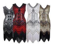 Maniche tubino Tiered Paillettes Strass disegno della nappa mini Vestito aderente donne di usura irregolare del partito abito da sera Fash V-Neck