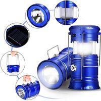 Recolhível ao ar livre movido a energia solar Lanterna de Acampamento Ao Ar Livre Lanterna LED Mão Lâmpada Telescópica Lanterna Tocha Portátil para Caminhadas De Emergência